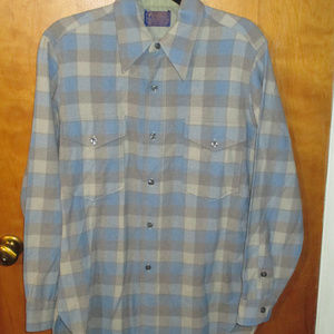 Vintage Pendleton Square Pattern Wool L/S Shirt 15